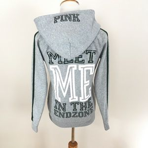 VS PINK NFL Jets Gray V Neck Hoodie Sweatshirt
